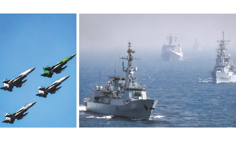 WARSHIPS of the navies of 12 nations, including Pakistan, carry out manoeuvres in Pakistani waters while the skies above were dotted with fighter aircraft, such as JF-17 Thunder, on the concluding day of the sixth multinational Aman-2019 Exercise on Tuesday. —Photos by Fahim Siddiqi / White Star