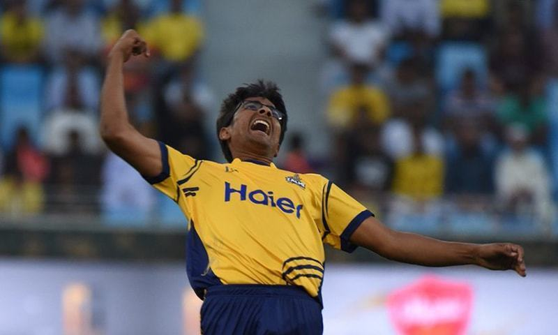 Ibtisam Sheikh celebrates a wicket in PSL's third edition. — File photo