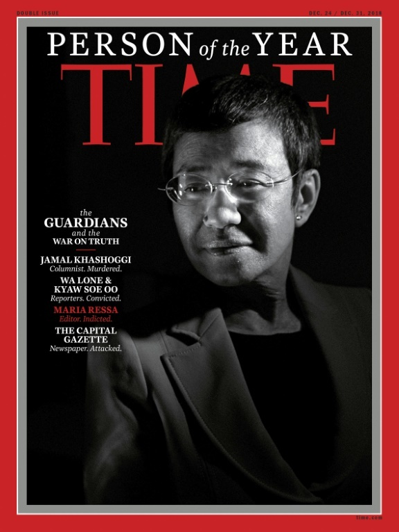 """Ressa was named a Time Magazine """"Person of the Year"""" in 2018 for her journalism. ─ AFP"""
