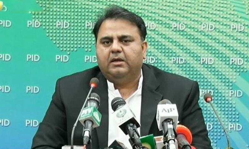 Information Minister Fawad Chaudhry addresses a media briefing following the cabinet meeting. —DawnNewsTV