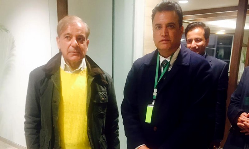 Shahbaz Sharif pictured at the airport following his release from the sub-jail. — Photo courtesy: PML-N