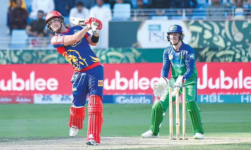 DUBAI: Karachi Kings' opener Liam Livingstone hits out during the Pakistan Super League match against Multan Sultans at the Dubai International Cricket Stadium on Friday.—courtesy PSL