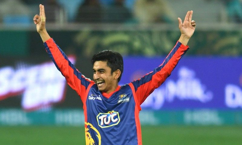 Young Umer Khan celebrates the dismissal of AB de Villiers. — PSL