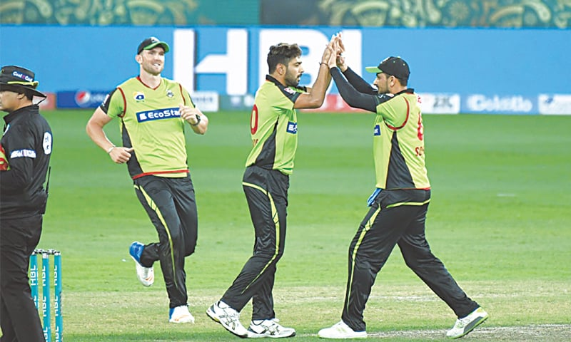 LAHORE Qalandars' Haris Rauf (centre) celebrates a wicket during the match against Karachi Kings. —Courtesy PCB
