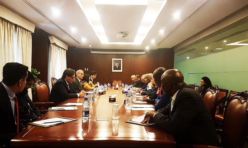 Foreign Secretary Tehmina Janjua on Sunday briefs envoys from African and Shanghai Cooperation Organisation (SCO) member states. ─ Photo courtesy FO Twitter