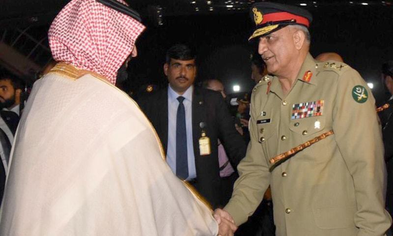 Army Chief Gen Qamar Javed Bajwa shakes hands with the Saudi crown prince. — Photo courtesy: ISPR