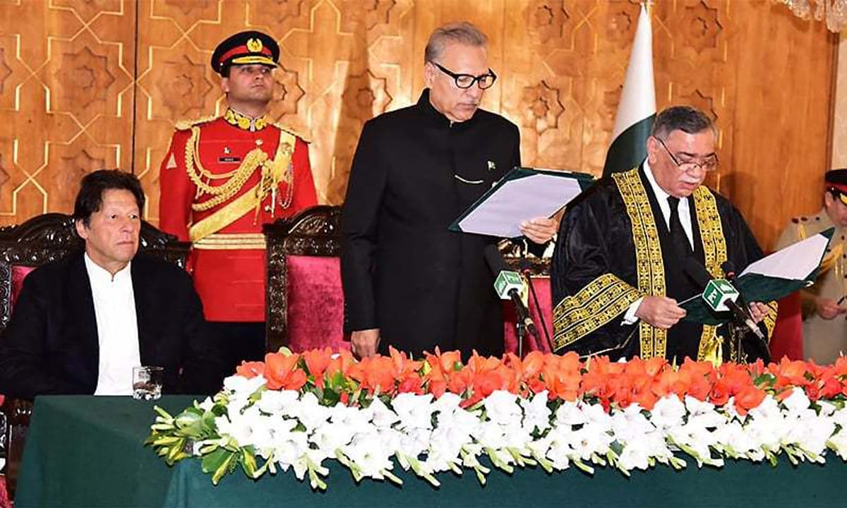 Prime Minister Imran Khan and President Arif Alvi at Chief Justice Khosa's oath-taking ceremony | Photo courtesy @pid_gov