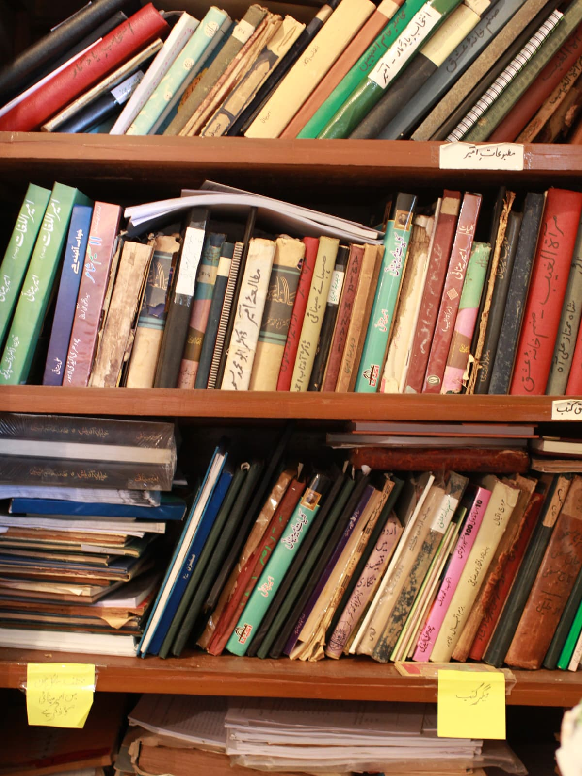 Opposite: A cupboard in Israil Minai's study where books by, and about, Ameer Minai are kept