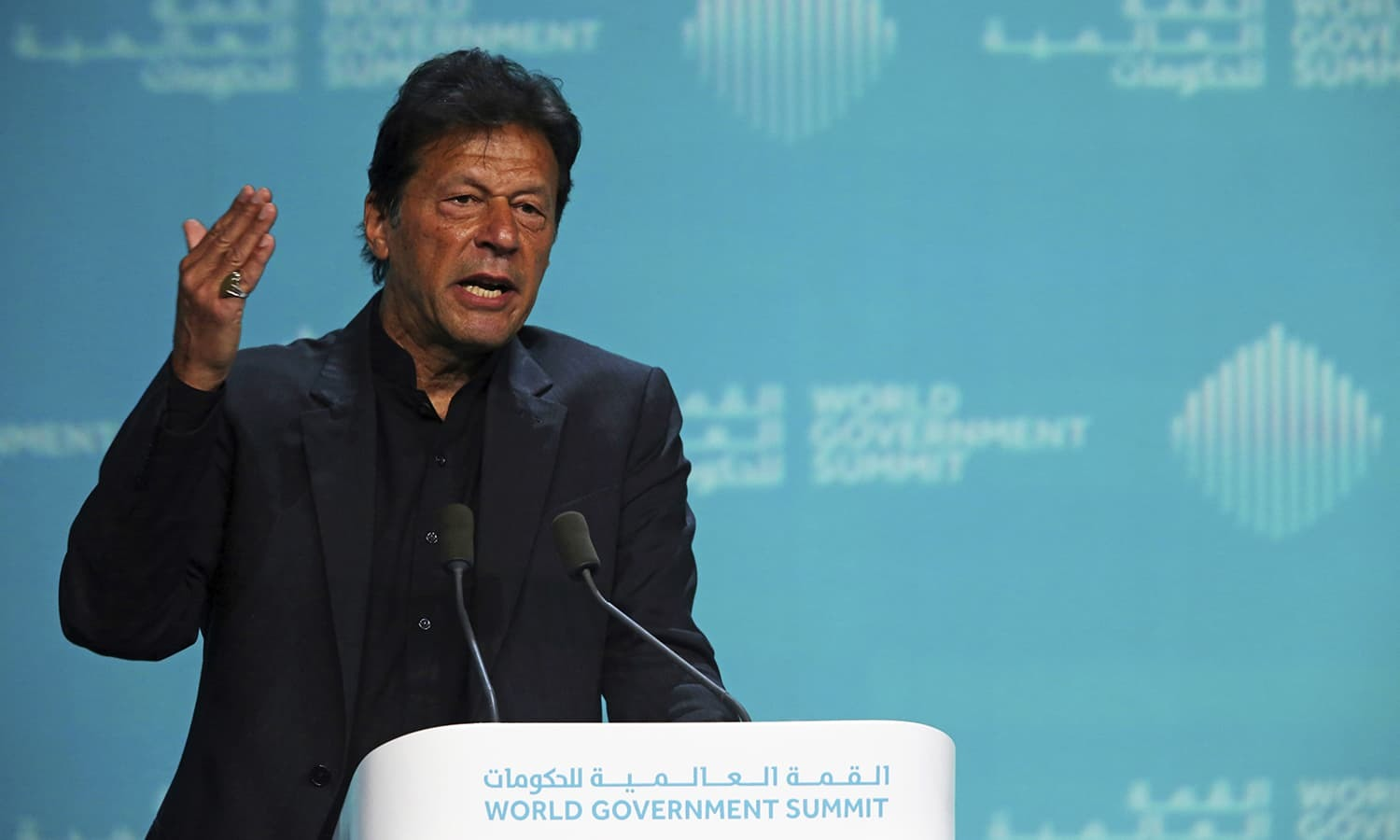 Prime Minister Imran Khan gestures while speaking during the World Government Summit in Dubai on Feb 10. — AP