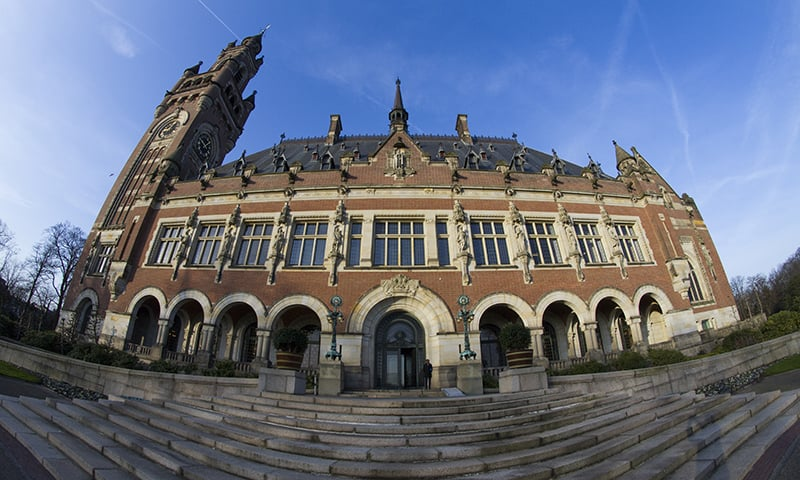 Exterior view of the Peace Palace which houses the International Court of Justice in The Hague. ─ AP