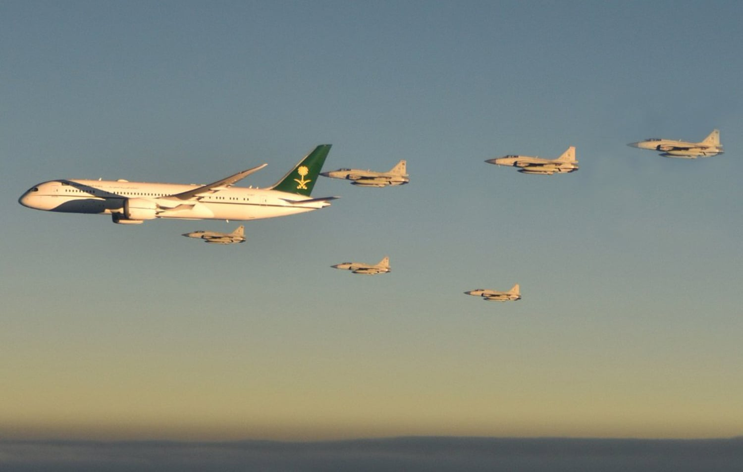 Pakistan Air Force aircraft escorting the crown prince's aircraft on Sunday. — Photo courtesy Govt of Pakistan Twitter