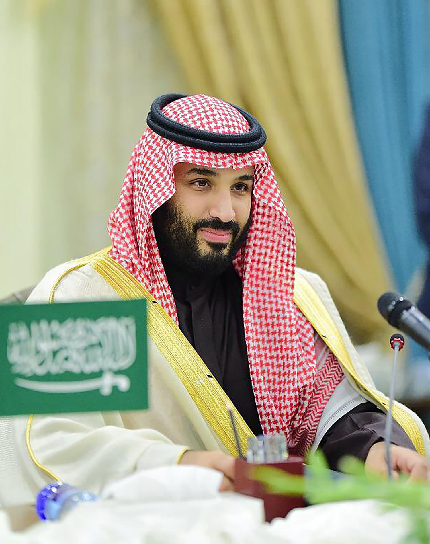 Saudi Arabian Crown Prince Mohammed bin Salman attends a meeting with Prime Minister Imran Khan at PM House in Islamabad on Sunday. — AFP