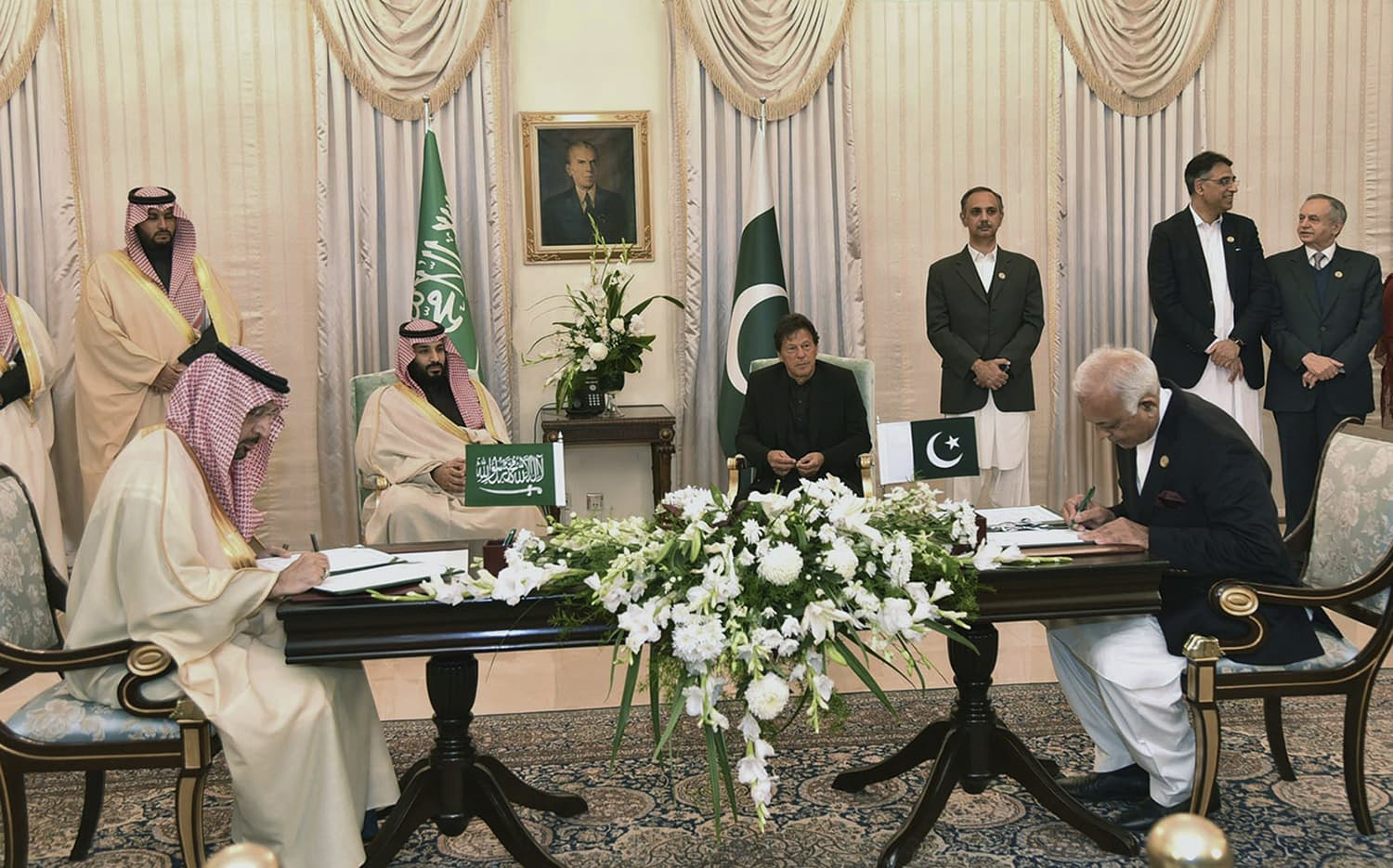 At a ceremony in the PM House, Pakistan and Saudi officials signed MoUs for bilateral cooperation in a number of areas — a process overseen by Prime Minister Khan and MBS. — AP