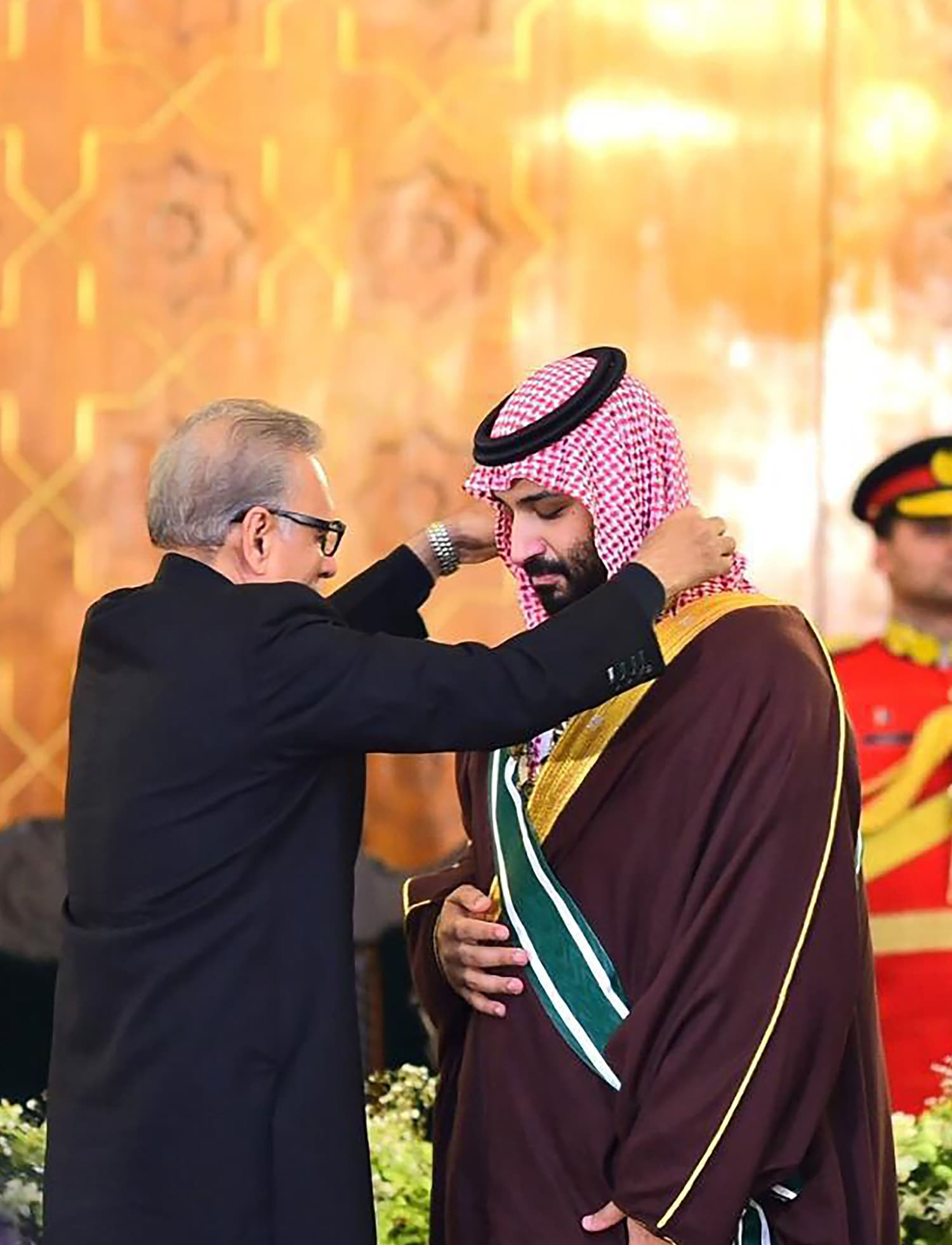 President Alvi on Monday conferred Pakistan's highest civil award — the *Nishan-e-Pakistan* — on Crown Prince Mohammad bin Salman during a ceremony held at the President House in Islamabad. — AFP