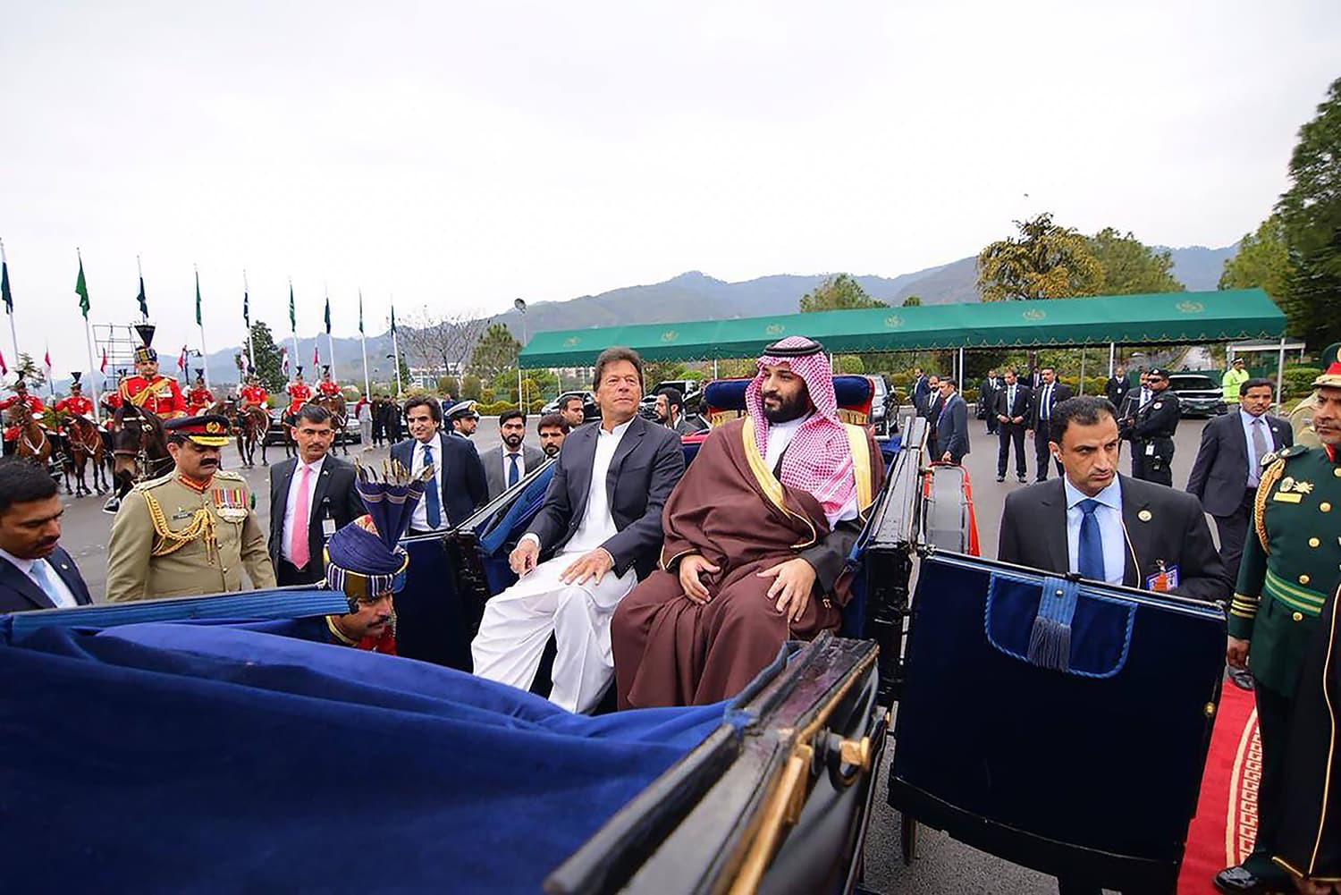 The Saudi crown prince and Prime Minister Imran Khan arrived at the President House in a traditional chariot.— AFP