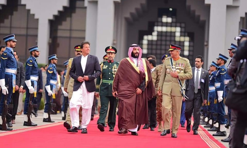 Prime Minister Imran Khan and Chief of Army Staff Gen Qamar Javed Bajwa saw off Saudi Crown Prince Mohammad bin Salman at Nur Khan Airbase as his first state visit to Islamabad came to an end on Monday evening. — Photo courtesy PTI Official Twitter