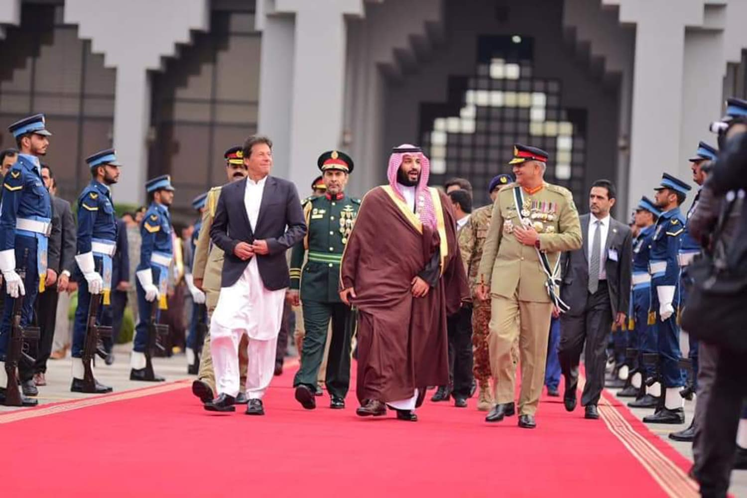 Prime Minister Imran Khan and Chief of Army Staff Gen Qamar Javed Bajwa later saw off Crown Prince Mohammad bin Salman at Nur Khan Airbase on Monday evening. — Photo courtesy PTI Official Twitter