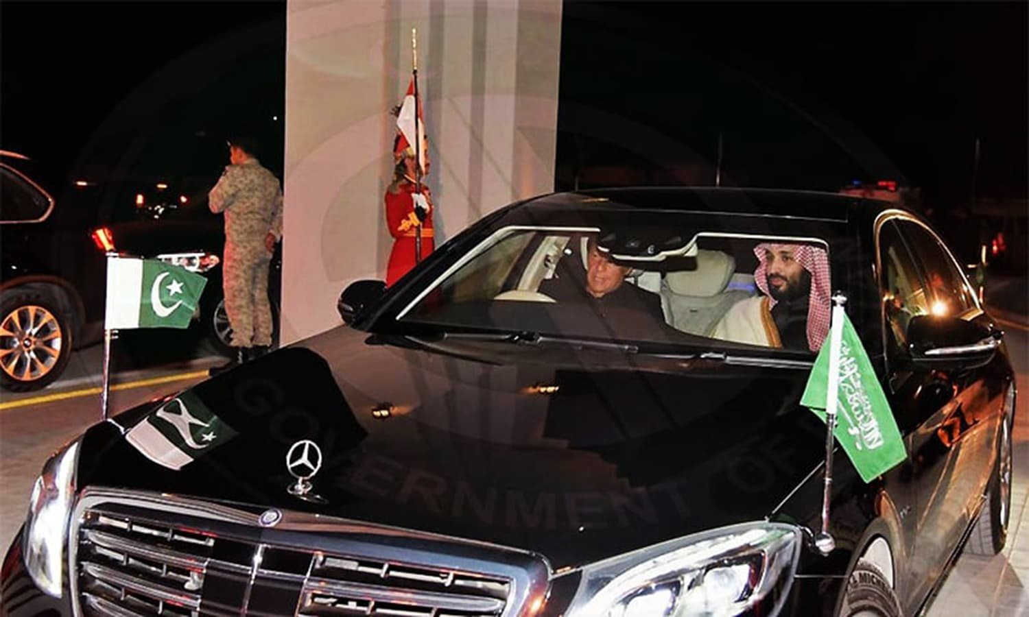 In a break from protocol, Prime Minister Khan personally drove the Saudi crown prince to PM House, where a welcome ceremony was held in his honour. — Photo courtesy PID