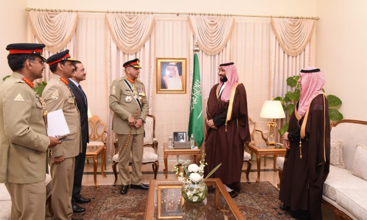 Chief of Army Staff Gen Qamar Javed Bajwa with MBS. — Photo courtesy ISPR