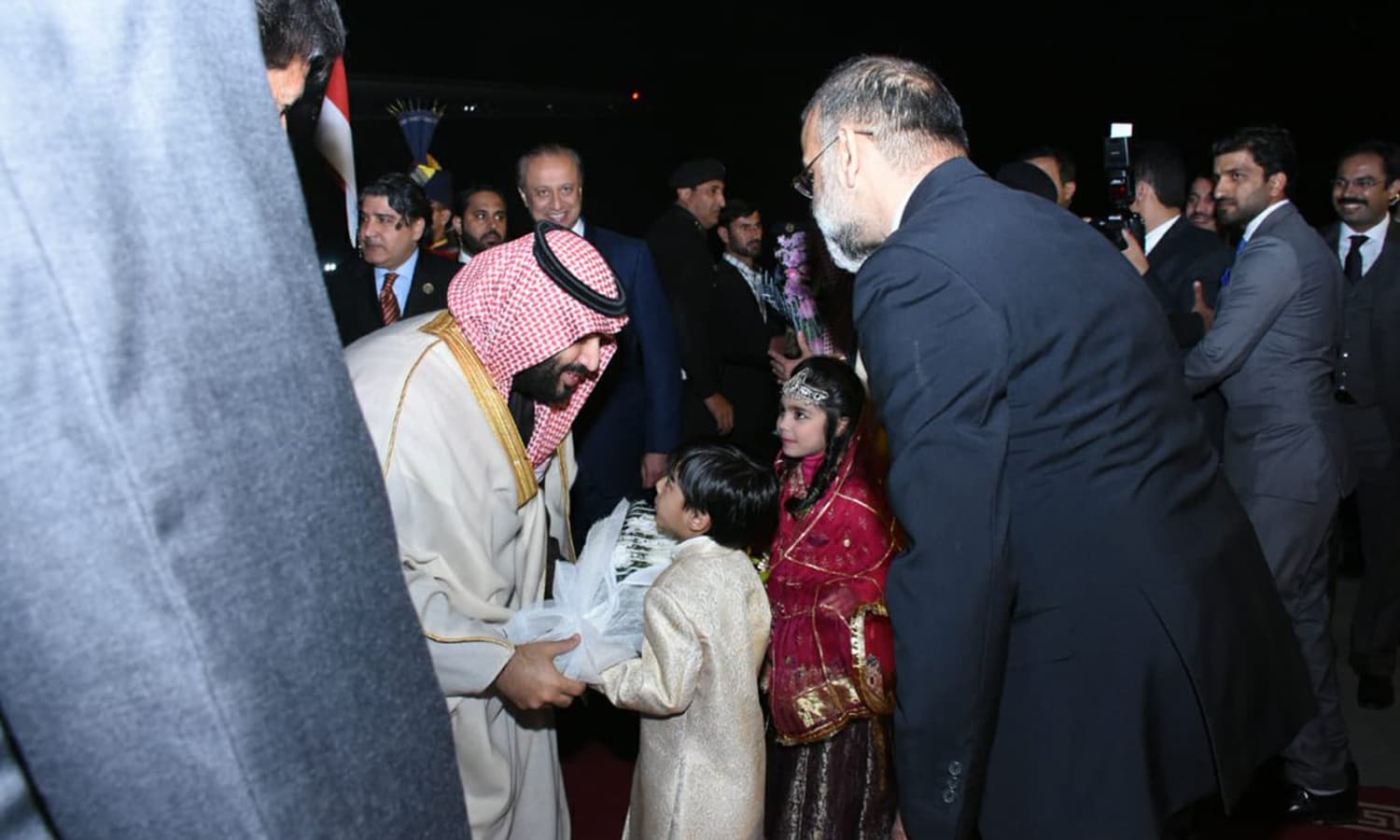 Saudi Arabia's Crown Prince Mohammed bin Salman arrives at Nur Khan Airbase. — Photo courtesy PTI Official Twitter