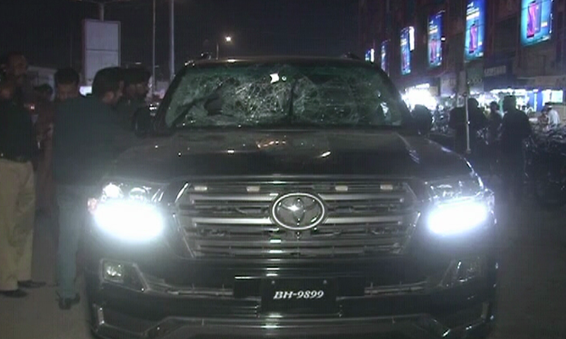 Assailants riding motorcycle opened fire on Abdul Habib, who was riding a Land Cruiser (pictured in this photo).  — DawnNewsTV
