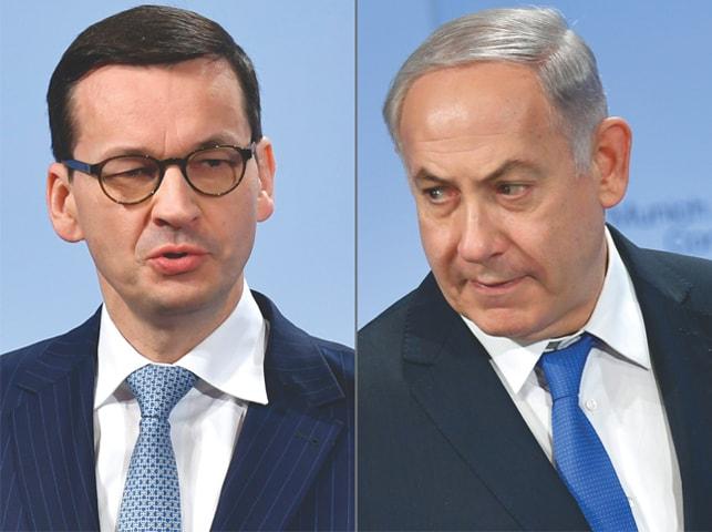 Polish Prime Minister Mateusz Morawiecki (left) and Israeli Prime Minister Benjamin Netanyahu.—AFP