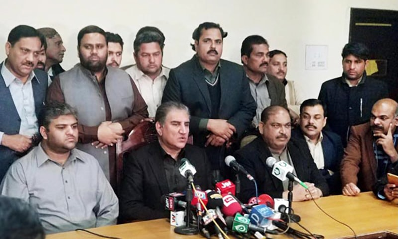 Foreign Minister Shah Mahmood Qureshi addresses a news conference in Multan on February 19, 2019. — APP