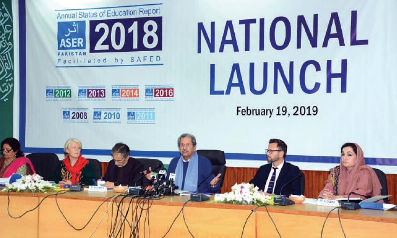 Education Minister Shafqat Mahmood speaks at the launch of the Annual Status of Education Report on Tuesday. — APP