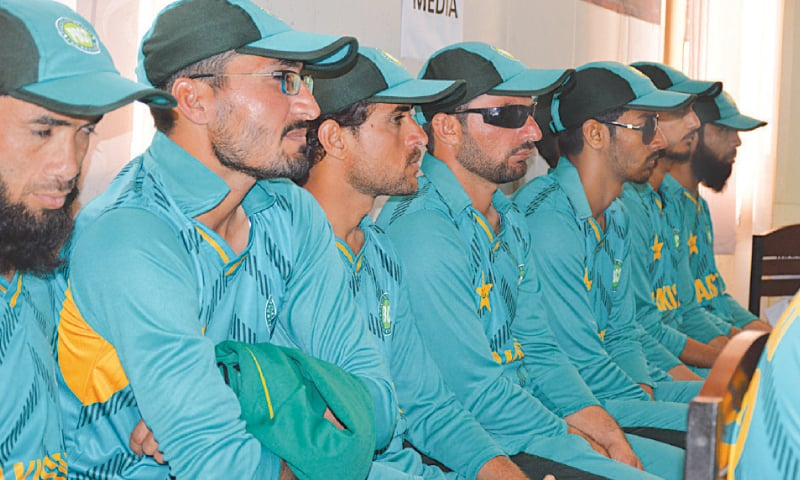 Members of Pakistan's blind cricket squad seen during a media briefing on Tuesday.