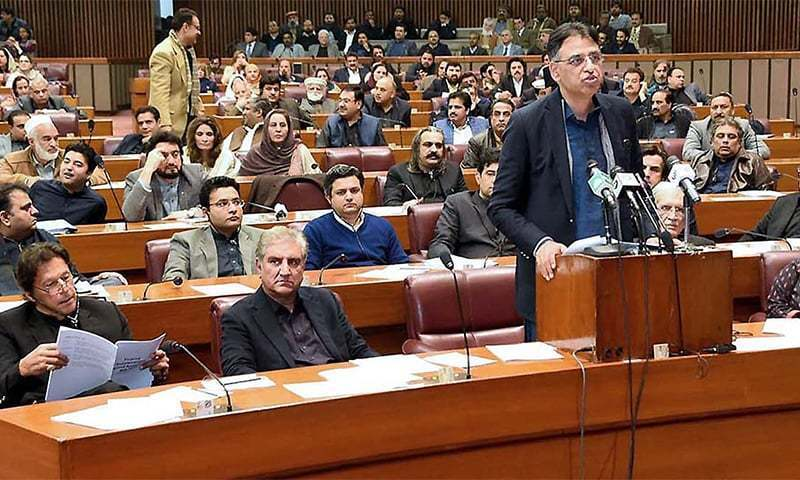 Finance Minister Asad Umar presents mini budget in Parliament on Jan 23. — File