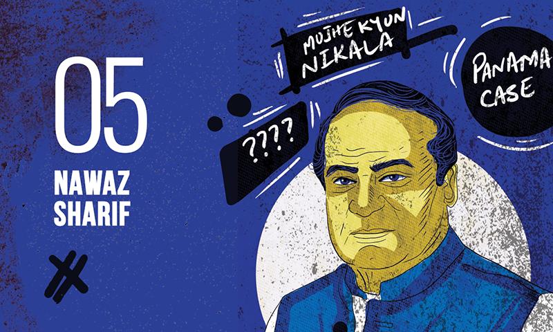 نواز شریف کے کیریئر میں چند بڑے ہی دلچسپ موڑ شامل ہیں اور 3 عناصر ایسےہیں جنہوں نے نوازشریف کےزوال میں اہم کردار ادا کیا— خاکہ: عمارہ سکندر