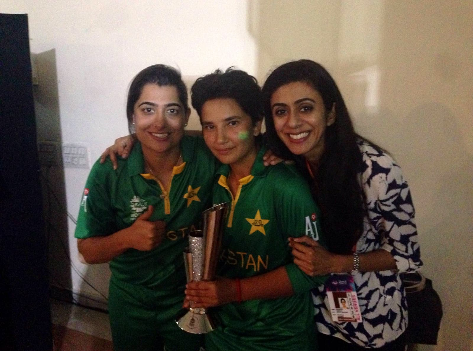 With Captain Sana Mir and Player of the Match Anam Amin. Author provided.