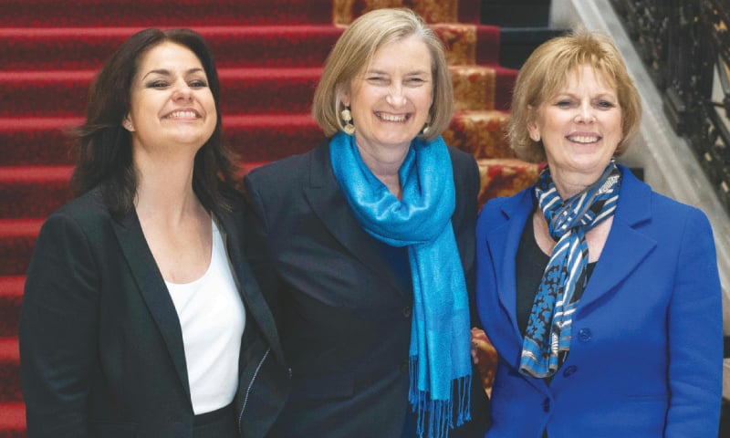 LONDON: Heidi Allen (left), Sarah Wollaston (centre) and Anna Soubry who quit Britain's governing Conservatives on Wednesday over Brexit.—AFP