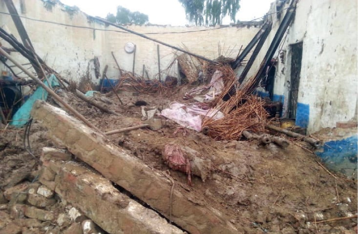 View of the house that collapsed due to rain in Hangu on Wednesday. — Online