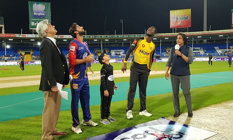 Karachi Kings won the toss and elected to bowl first against Peshawar Zalmi in their 2019 Pakistan Super League (PSL) fixture at the Sharjah Cricket Stadium. — Photo courtesy Pakistan Super League Twitter