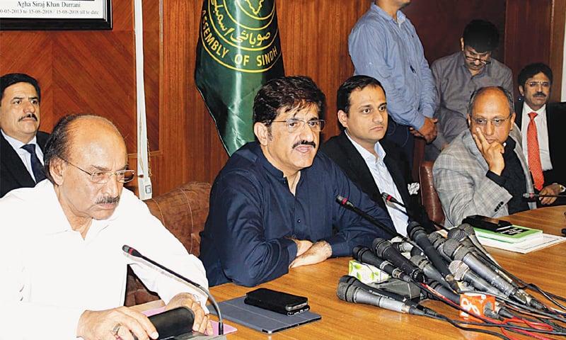 CM Murad Ali Shah speaks to the media on Thursday.—PPI