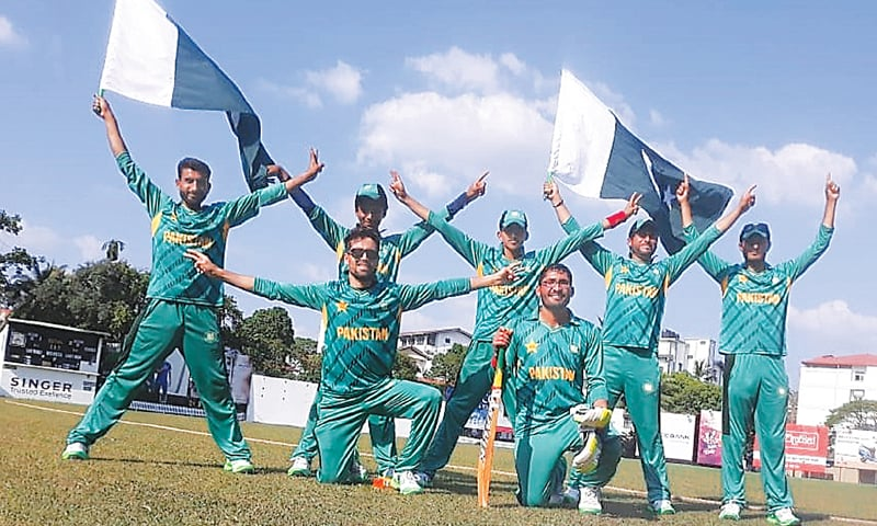 PAKISTAN blind cricket team players celebrate after beating Sri Lanka.