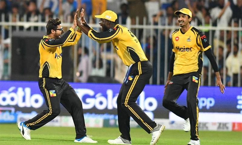 پشاور زلمی کے کھلاڑی وکٹ حاصل کرنے پر خوشی کا اظہار کررہے ہیں—تصویر ٹوئٹر