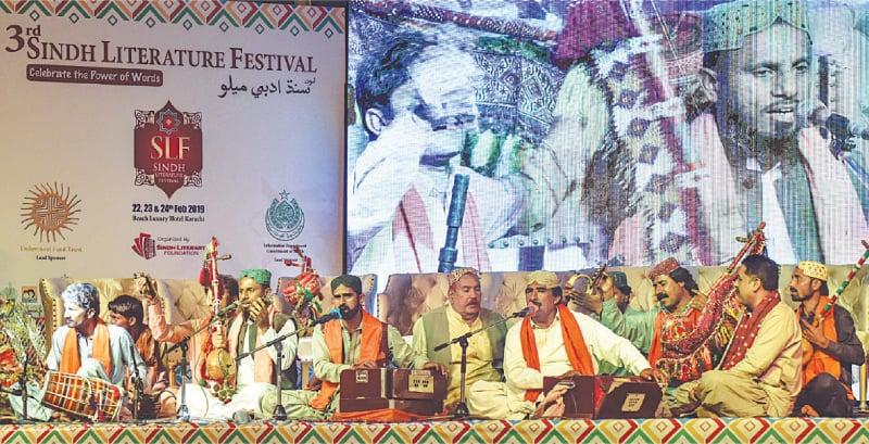 FOLK musicians perform at the SLF on Friday evening.—Fahim Siddiqi/White Star