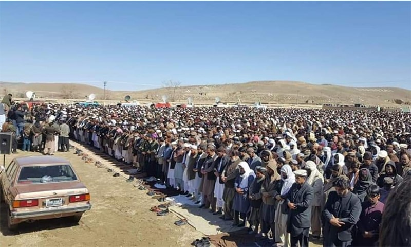Funeral prayers of the five siblings, who died after allegedly consuming toxic food in Karachi, take place in the Khanozai area of Balochistan on Saturday. — Photo provided by author