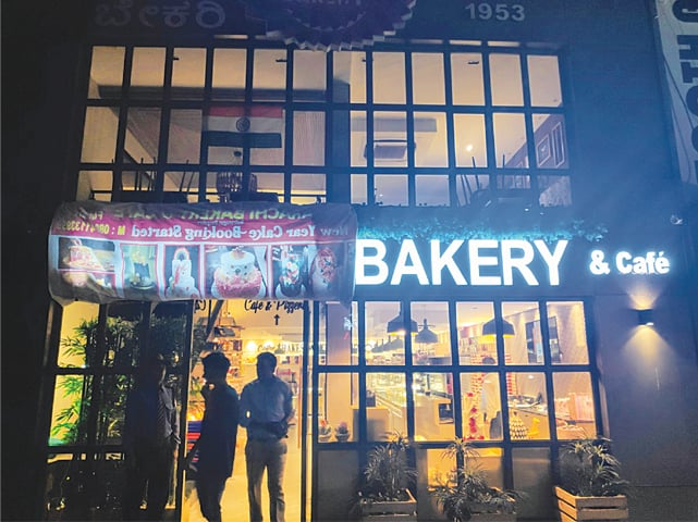 The Bengaluru outlet of the Karachi Bakery covered up its name 'Karachi' on its signboard after threats. —Photo courtesy Twitter