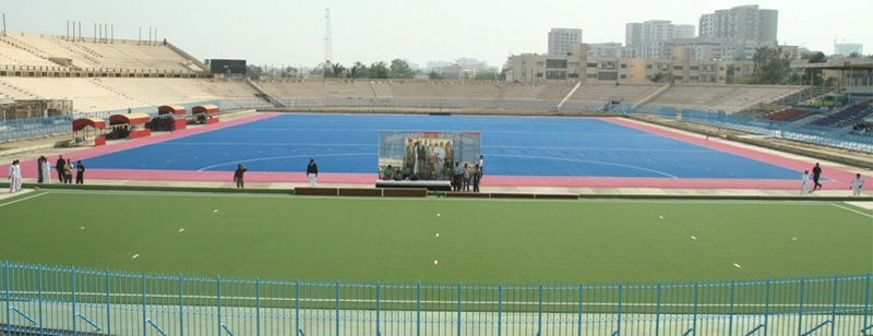 A view of the five-a-side green Astroturf laid out by the Pakistan Navy at the Abdul Sattar Edhi Hockey Stadium