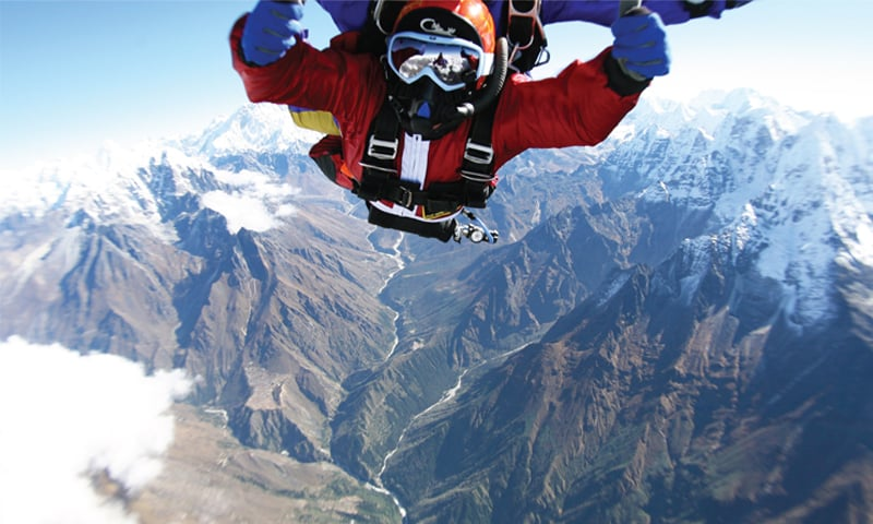Everest skydives: on top of the world