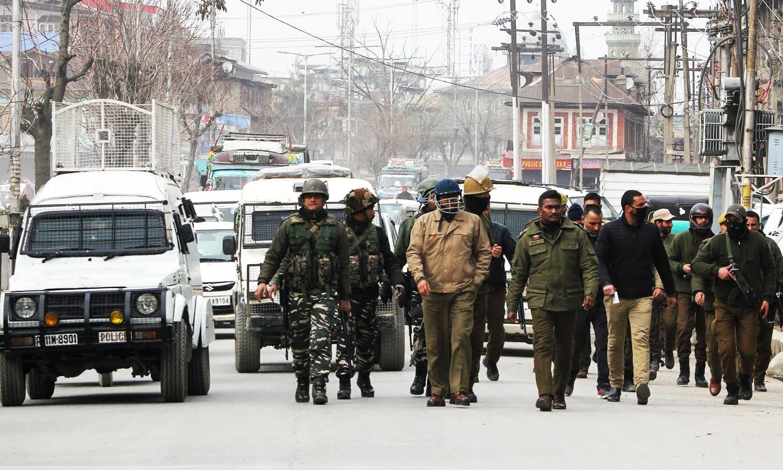 Security forces patrol in Karan Nagar area, near Srinagar in Indian-occupied Kashmir on Saturday. — AFP