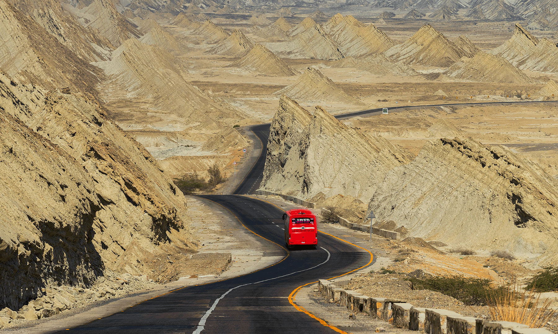 Driving along the Makran Coastal Highway.