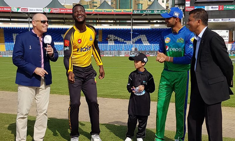 Peshawar Zalmi won the toss and decided to bowl first against Multan Sultans in their 2019 Pakistan Super League clash at the Sharjah Cricket Stadium. — Photo courtesy Pakistan Super League Twitter