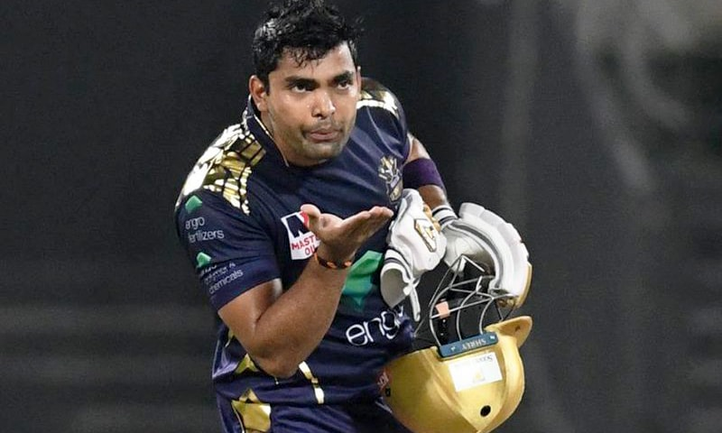 Umar Akmal celebrating  his half-century. — PSL