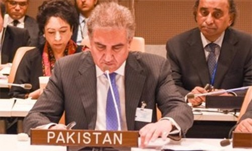 Foreign Minister Shah Mehmood Qureshi attends a meeting of the OIC Contact Group. — Twitter/File