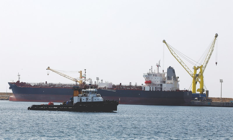 A cargo ship is docked at Shahid Beheshti Port in the southeastern Iranian coastal city of Chabahar, on the Gulf of Oman, during an inauguration ceremony of new equipment and infrastructure at the port on Monday.—AFP