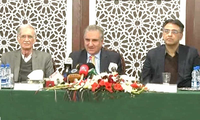 Foreign Minister Shah Mahmood Qureshi with Finance Minister Asad Umar and Defence Minister Pervez Khattak. ─ DawnNewsTV